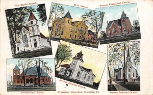 B60/ Mendota Illinois Il Postcard 1909 6View Protestant Church Buildings