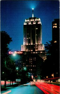 Postcard IL Drake Hotel Palmolive Building Night Chicago Skyline