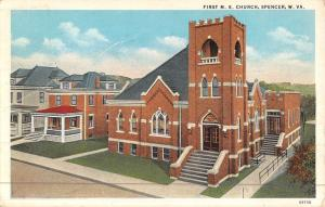 Spencer West Virginia Firswt ME Church Street View Antique Postcard K46383