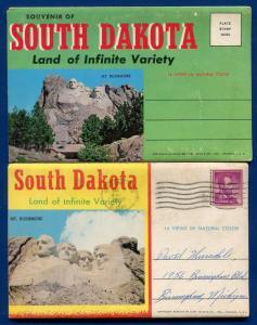 Lot of 2 South Dakota sd views Mt Rushmore postcard folders