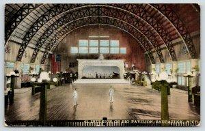 Saugatuck Michigan~Big Pavilion Interior~Dance Floor~Orchestra Stage~1914 PC