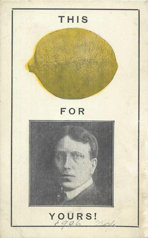 New York Governor Hearst Lemon 1906 Manufacturing Novelty postcards advertising