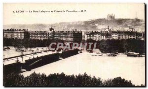 Lyon Old Postcard Lafayette bridge and hill Fourviere