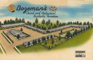 Nashville TN~Bozeman's Court And Restaurant~Aerial~1952 Linen~Artist Postcard