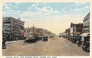 Garden City Kansas~Carter Bros Implements~Music Co~Grocery~Cars~1920 Postcard