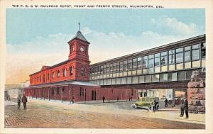 WILMINGTON DE~PHILADELPHIA-WILMINGTON-BALTIMORE RAILROAD DEPOT-FRONT ST POSTCARD