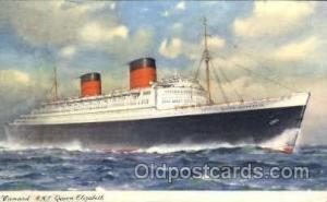 R.M.S. Queen Elizabeth Cunard White Star Line Ship, Ships, Postcard Postcards...