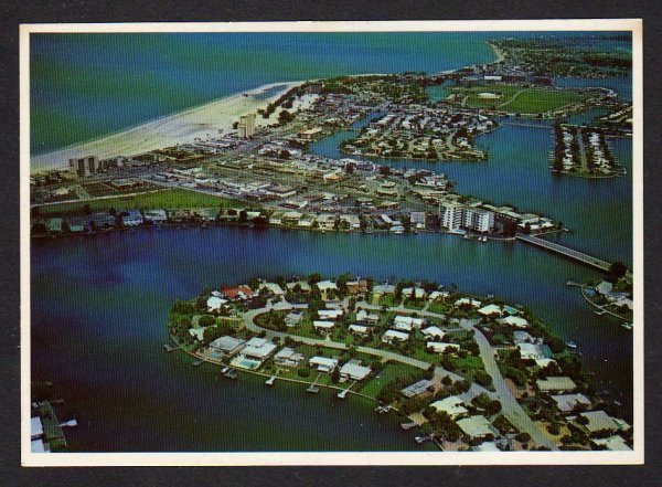 FL Aerial view Treasure Island Florida Postcard Houses Beach Carte Postale