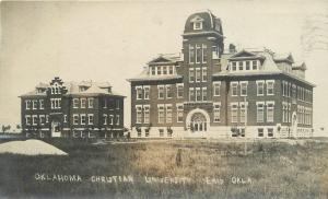 1909 Enid Oklahoma Christian College RPPC Real photo postcard 12451