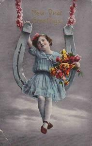 Girl Sitting On A Huge Horseshoe, New Year Greetings, PU-1915
