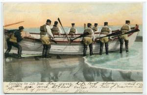 Launching The Life Boat Life Saving 1907c postcard
