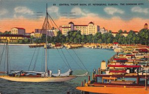Central Yacht Basin, St. Petersburg, FL, Early Linen Postcard, Used in 1951