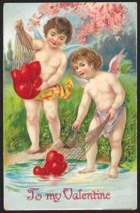 To My Valentine 2 Cupids & Mesh Bags of Hearts From Pond Unused c1910s