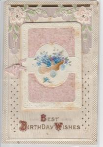 Pink Airbrushed~Blue Flowers in Cart~Gold Leaf Emboss~Fold Out Postcard~Germany