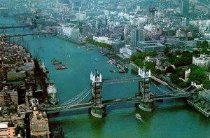England London Tower Bbridge Aerial View