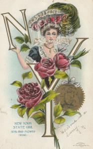 NEW YORK, PU-1907; State Girl, Seal and Flower, Rose
