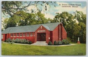 Cartersville Georgia~St Francis Catholic Church~1953 Linen Postcard