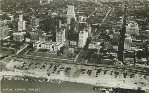 Memphis TN~Waterfront Skyline~Aerial View~1939 B&W Conoco Touraide Postcard