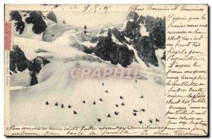 Old Postcard Militaria Alpine Hunters maneuvers in sliding Alps glacier