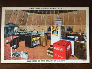 Lunch Room, Wigwam Villiage #2, Cave City, KY, Coca-Cola Coke Bottles Cooler D21
