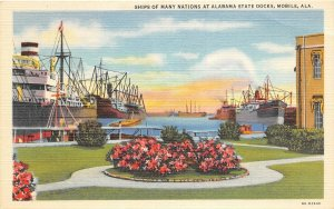 G75/ Mobile Alabama Postcard Linen Ships Many Nations State Docks