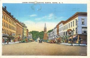 Rome New York~James Street North~Lunch~Smoke Shop~Barber~1941 Postcard