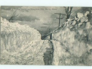 Pre-1907 WINTER STORM ON HOUGHTON HILL Barre by Leominster & Worcester MA AD8773