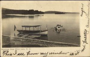 Boating - Silver Lake NH 1905 Cancel Real Photo Postcard