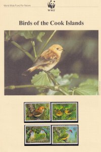 Birds Of The Cook Islands WWF Stamps and Set Of 4 First Day Cover Bundle