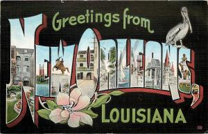 Vintage Linen PC; Large Letters Greetings from Louisiana Black Background