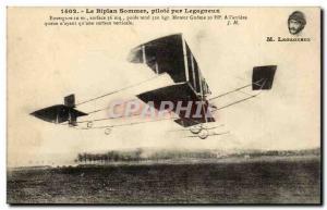 Old Postcard Sommer biplane pilot by Legagneux
