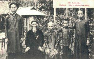 Cochinchine Saigon Chef de Canton et sa Famille Indochine 03.75