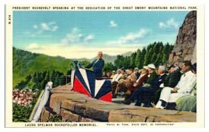1940 FDR Dedicating Great Smoky Mountains National Park Postcard