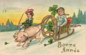 Happy New Year Children on a Sled with a Pig Embossed 04.34