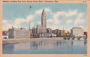 Ohio Columbus Skyline Looking East From Across Scioto River 1949