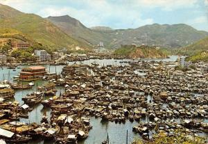 Hong Kong China Fishing Area Aerial View Harbour Scene Postcard J73649