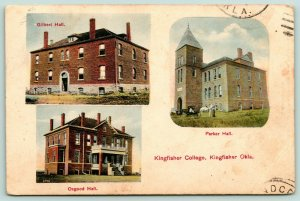 Kingfisher OK~College Campus~3 Vignettes: Gilbert Parker & Osgood Halls~1908