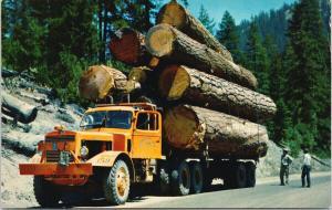 Logging Truck Huge Trees Orange Lumber UNUSED Vintage J. Boyd Ellis Postcard D97