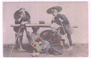 Japanese Woman Litter Carry Carriers Japan 1907c postcard