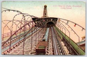 Coney Island NY~Seasonal Worker Behind Car on Shoot the Chutes~Dreamland~1911 PC