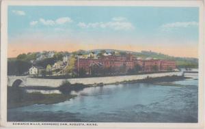 AUGUSTA Maine - EDWARDS MILLS & KENNEBEC DAM 1920s / Destroyed