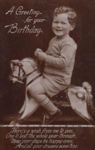Child On Toy Antique Rocking Horse Birthday Greetings Real Photo Old Postcard