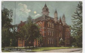 Public School by Moonlight Barnesville Ohio 1910c postcard