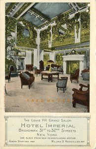 C-1910 New York City Postcard: Louis XVI Grand Salon, Hotel Imperial on Broadway