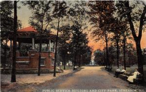 Streator Illinois~Public Service Building & City Park~People on Benches~1911 Pc