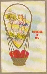 Valentine's Day Cupid With Basket Of Hearts Hot Air Balloon