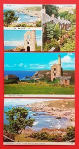 Set of 3 New Vintage Postcards St Agnes Cornwall, History, Tin Mining, Genealogy
