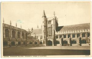 UK, Oxford, Magdalen College, Founder's Tower & Cloisters, 1920s-30s, Postcard
