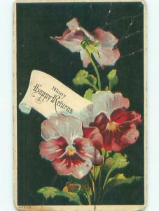 Pre-Linen PANSY FLOWERS - MANY HAPPY RETURNS J3033