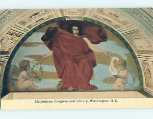Divided Back POSTCARD OF PAINTING AT CONGRESSIONAL LIBRARY Washington DC hs2436